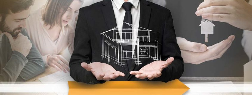 real estate pro holding up his hands with a virtual house above it