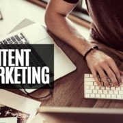 content marketing marketer working on his laptop