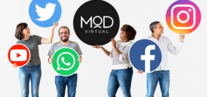 group of marketers holding up social media icon signs with myoutdesk