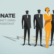 dominate your market using virtual assistant graphic with 4 black people figures and one orange people figure