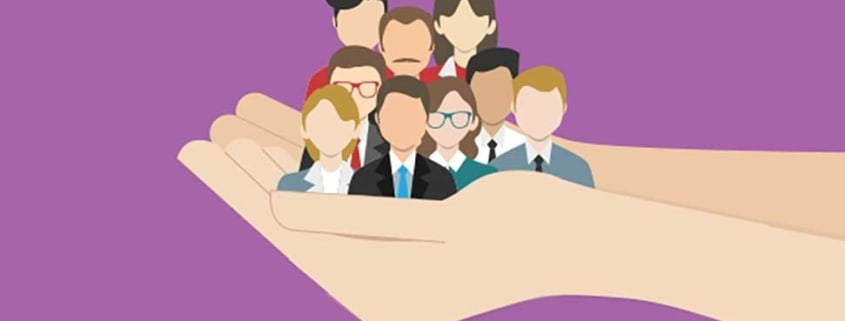 cartoon hands holding a group of real estate clients