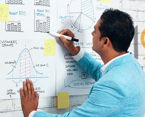 business owner writing his management charts on a poster