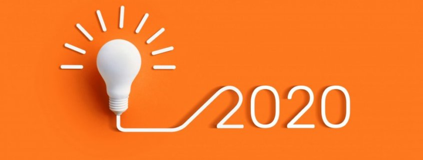 white light bulb connected to 2020