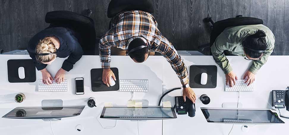 help desk team working
