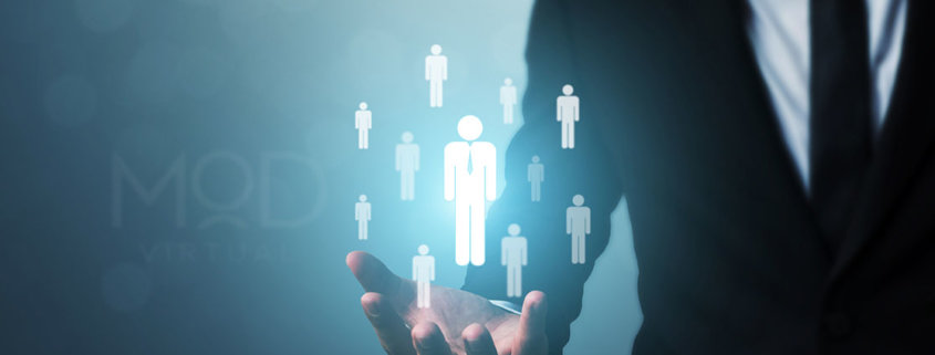 business man holding out hand with virtual icons of people myoutdesk