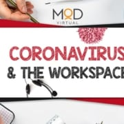 corona virus & the workspace on a paper