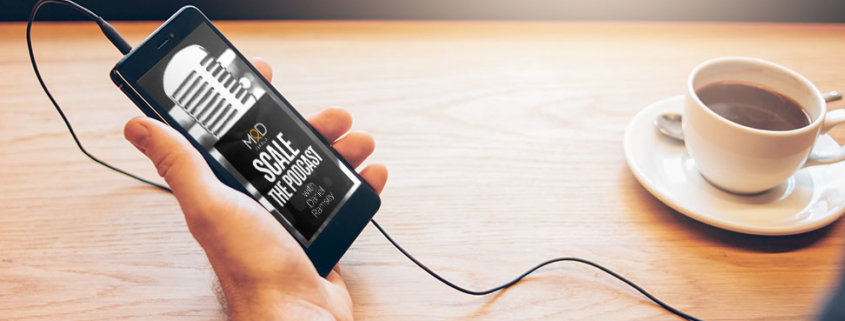 scale the podcast logo on a smart phone plugged into some headphones