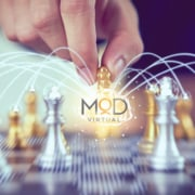 myoutdesk chessboard with a virtual graphic logo