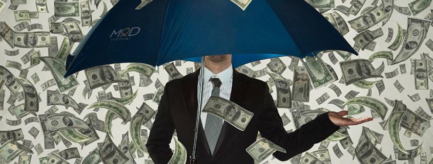 a man with umbrella under raining cash