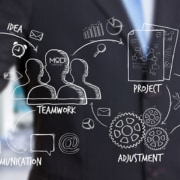a man draw a symbols communication teamwork project adjustment validation