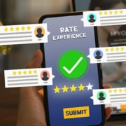 a phone with a rate experience checkmark graphic and 5 stars and submit button with virtual reviews