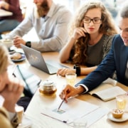 a digital marketing team work together