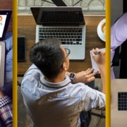 3 frame image of 3 men working on a computers in a video chat with their virtual assistants