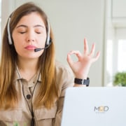 a virtual assistant putting up hands in a sign of work zen customer service