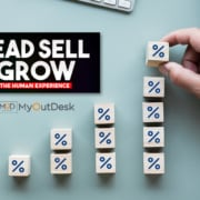 lead sell grow podcast the human experience logo with myoutdesk and a set of blocks assembling a growing percentage bar chart