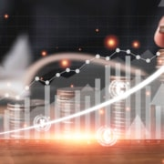 man with a graph showing a graph of business development to success and growing growth concept