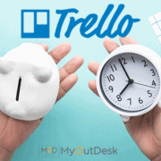 Trello logo with two hands holding a piggy bank and clock myoutdesk logo