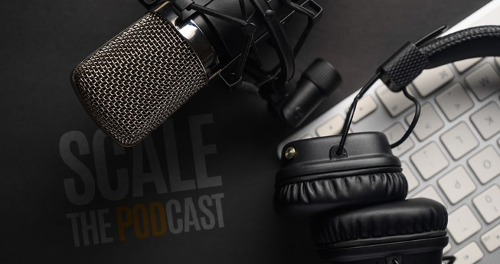 scale the podcast logo headphones microphone and keyboard