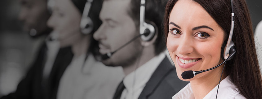 happy virtual assistant working with a headset