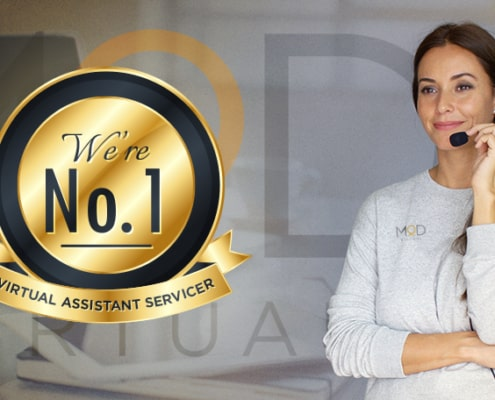 we're No.1 virtual assistant servicer with a virtual assistant with headset smiling in the background