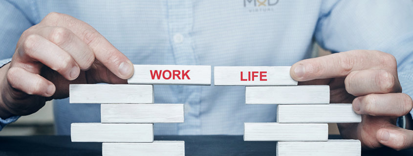 myoutdesk virtual assistant putting two blocks together to show a work life balance