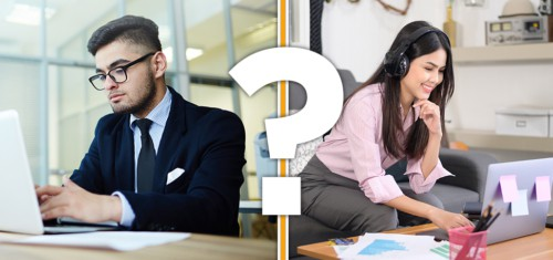 hire remote virtual assistants vs in house man and woman between a question mark