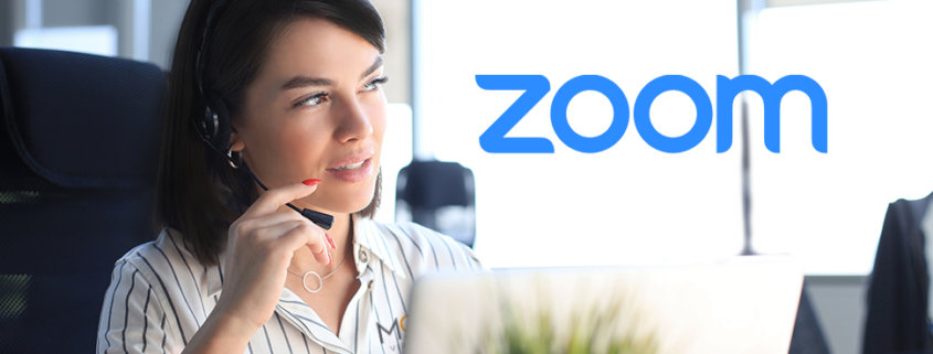 virtual assistant remote working on a zoom call with a zoom logo