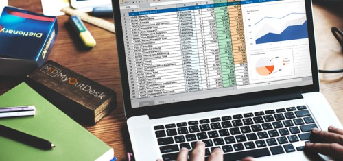 virtual assistant working at laptop in a spreadsheet data