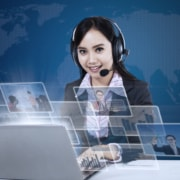 virtual assistant with multiple screens working to grow an insurance business