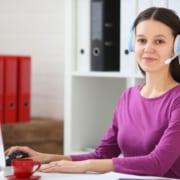 teacher using computer online customer service virtual assistant
