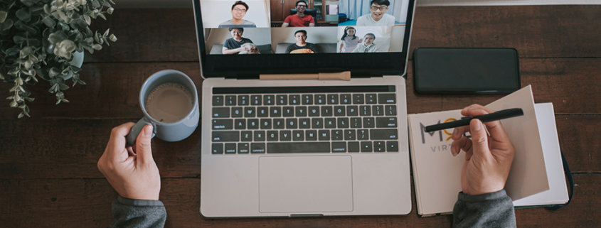 business owner holding a virtual team meeting with virtual assistants for bookkeeping administrative assistants
