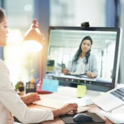 virtual assistant working on a video call with her client