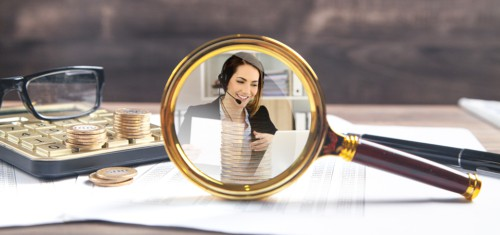 Virtual Assistant In Magnifying glass