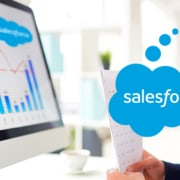 screen monitor with graph and salesforce logo