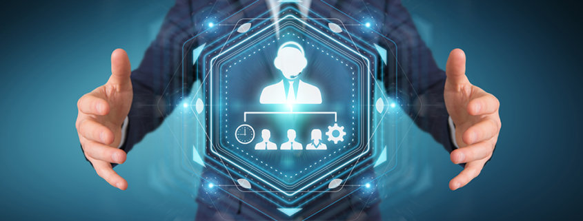 business holds digital icons of virtual assistants