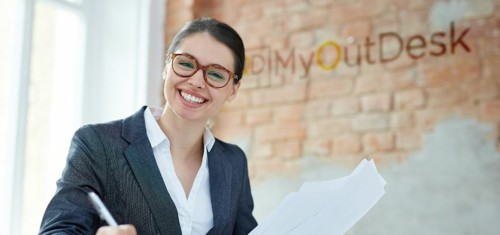 virtual assistant smiling while working