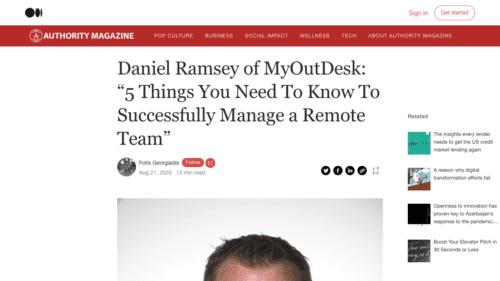 Medium.com features Daniel Ramsey, MyOutDesk
