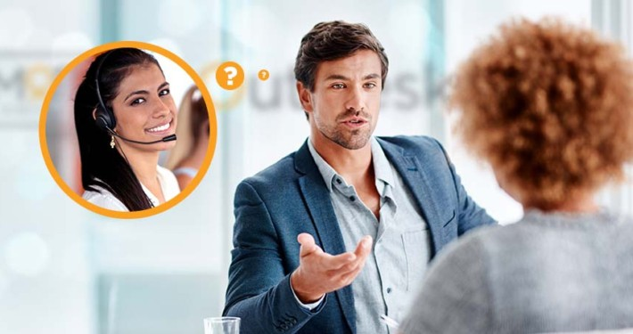 Loan officer talking to client thinking about his virtual assistant