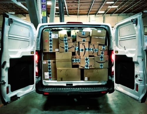 amazon van boxes delivery